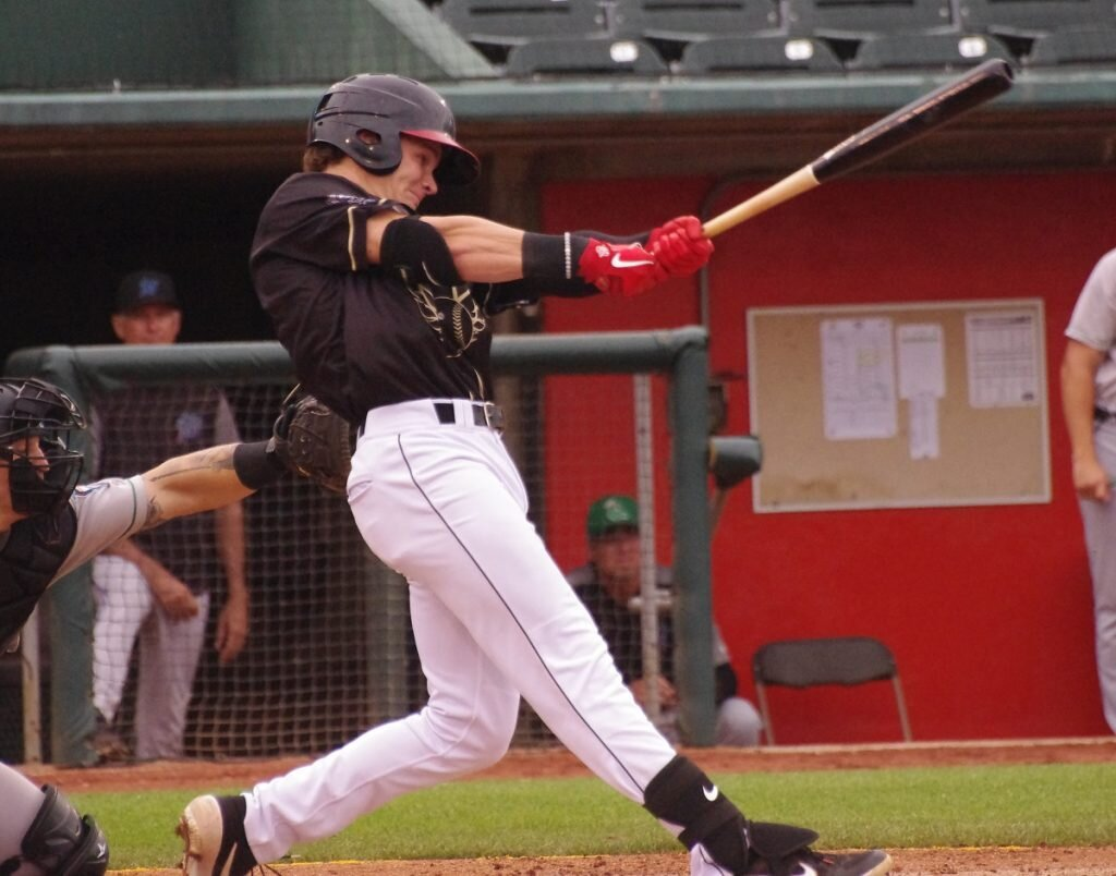 Griffin Conine is the Blue Jays from Away Player of the Game champion for the low-A Lansing Lugnuts. Photo: Jay Blue