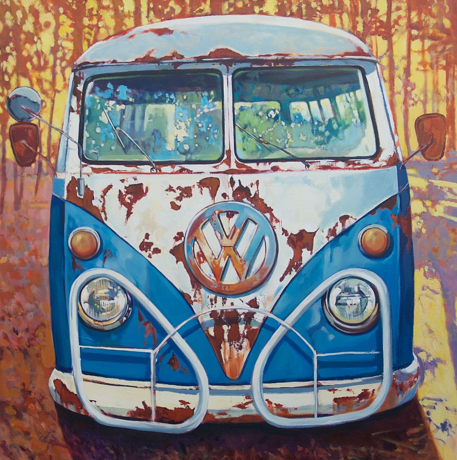 Blue and White VW Bus