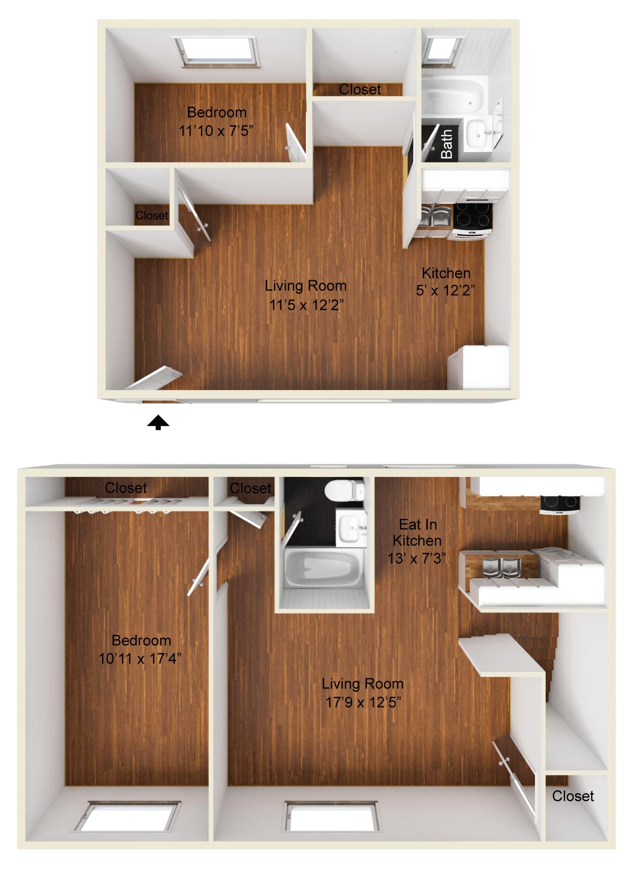 CJ Lombardo-Essex St Gardens-Small 1 bedroom, One bedroom 3D Unfurnished.jpg