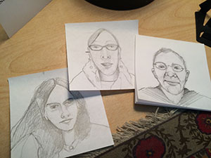 These three fantastic women are my professors at Kutztown University. While i was watching their presentation videos on my computer i started sketching their faces on post-it notes. drawing often helps focus my attention.