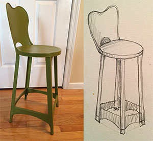 I studied the chair on the left for about 2 minutes before drawing the one on the right. I have had this chair in my office for over a year now. I found it at an auction, sanded it and repainted it. It wasn't until I drew it that I noticed the curved opening in the back, or the curved sections holding the legs together at the bottom.