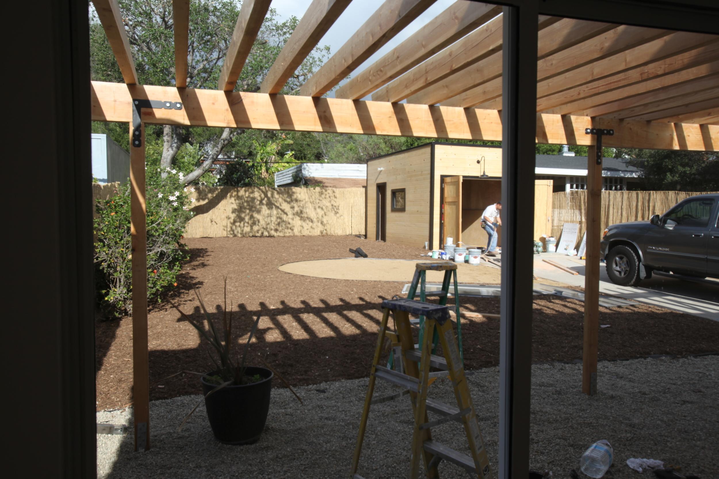 backyard + garage