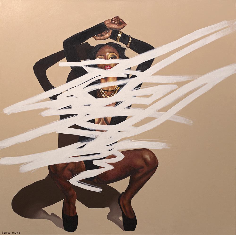 """Misogynoir/Resistance,"" oil and acrylic on canvas, 36x36 inches"