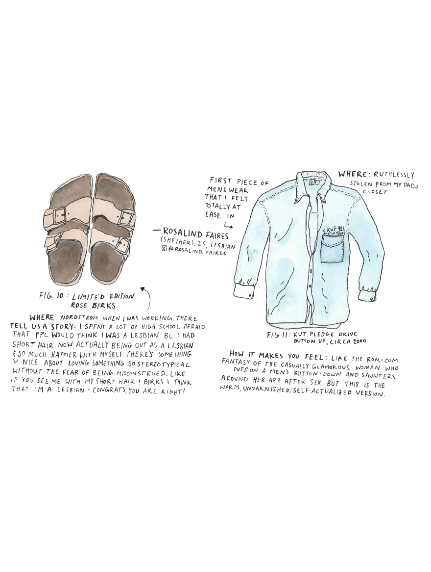 Queers and Their Clothes , 2018. Digitized watercolor painting. Anne-Lise Emig.  Anne-Lise Emig  is a lesbian artist, chemist, and educator living in Austin. Her work explores the experiences of queer communities and the beauty of the natural world. Queers and Their Clothes is a collection of drawings of LGBTQIA+ people's clothes, along with their words on what makes the items significant. The work celebrates the diversity of expression and experience in queer communities, and shows that there are infinite ways to look and be queer.