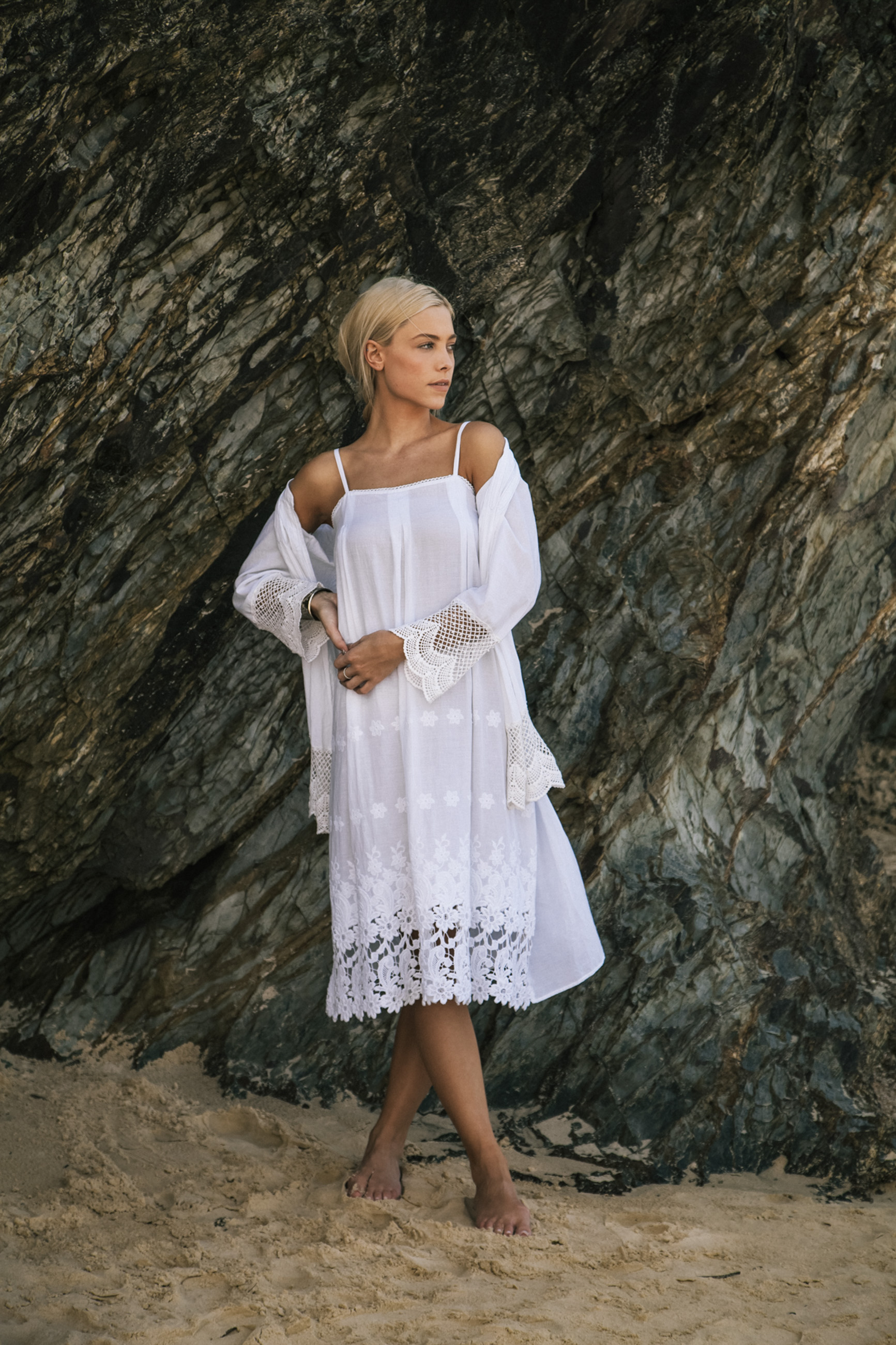 Lace Dress White with Getaway Jacket White