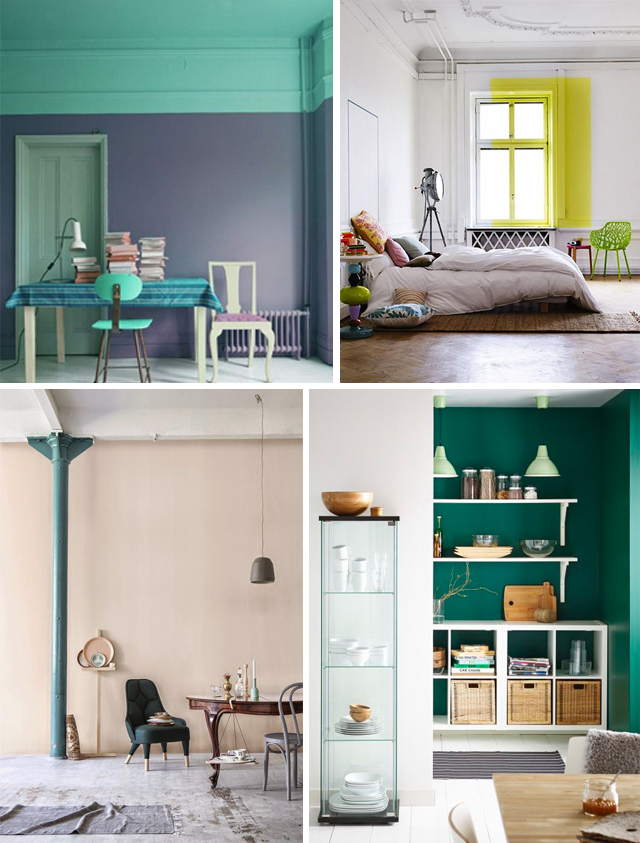 Clockwise from top-left: color blocked workspace from  Simply Grove , drop shadowing a window via  Remodelista  , sneak peek-through via  IKEA , pop of color on a column - image via  Frenchy Fancy