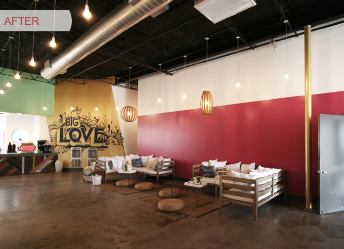 Sources | Couches:  Jardine Sectional  -West Elm, Pillows:  H&M  and  Urban Outfitters , Rugs and Poufs:  Ikea , Lighting:  West Elm  and  Color Cord , Custom Mural by Wiley, Reclaimed Wood Counters: Custom