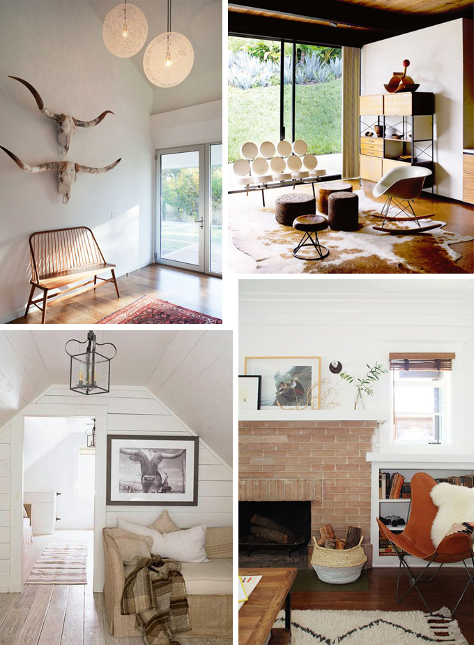 Clockwise from Top Left: Image from  The Transatlantic , a midcentury take from  Blood and Champagne , one of my favorite inspiration images of all time from  DesignSponge , and finally this comfy stunner from none other than  House Beautiful