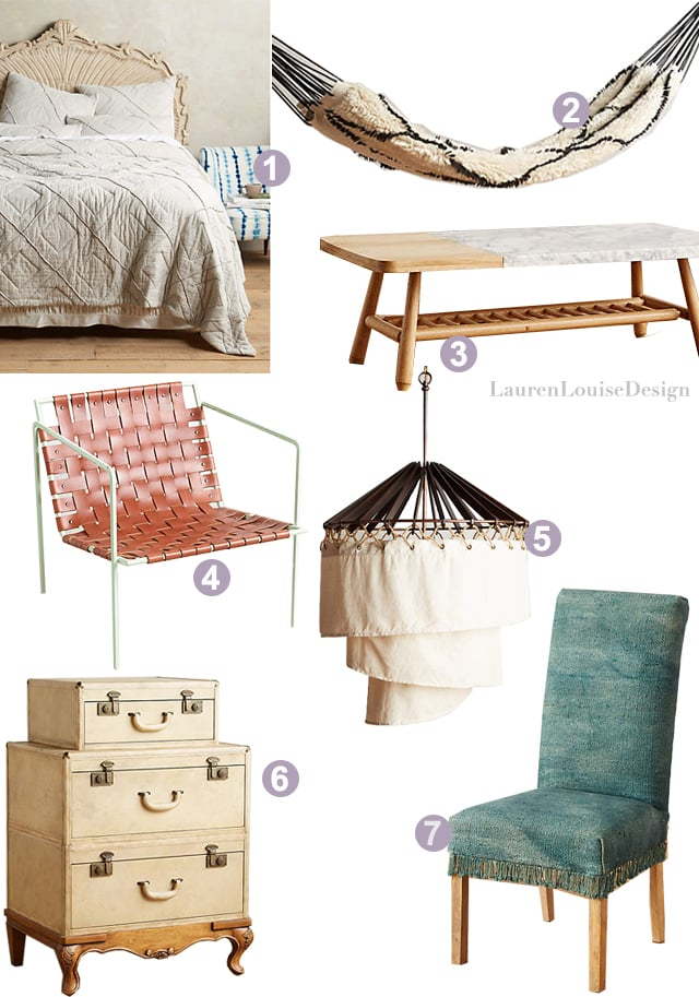 1 |  Stonesands Quilt , 2 |  Crossed Flokati Hammock , 3 |  Hollyton Coffee Table , 4 |  Rod + Weave Chair , 5 |  Spiral Shade Pendant , 6 | Expedition Dresser , 7 |  Fringed Dhurrie Dining Chair