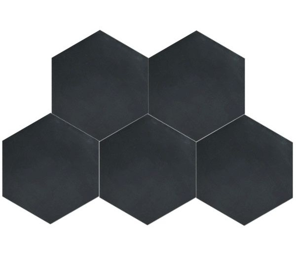 Matte Black Hex Floor Tile