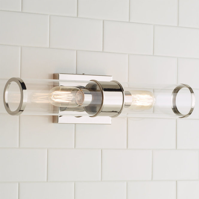 Chrome two light bathroom sconce