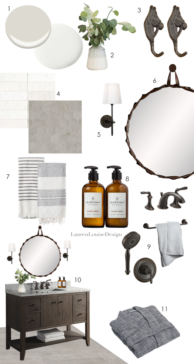 "1. Wall color: Benjamin Moore  Classic Gray , Trim Color: Sherwin Williams  Snowbound  2. Studio McGee Gray Dipped  Vase  3. Horse head  hook  (similar) 4. Wall Tile:  Chloe 2.5x8 ; Floor Tile:  Clive 2"" Hex ,  12""x24""  5. Circa Bryant Bathroom  Sconce  6. Arteriors Powell Large  Mirror  7. Target Hearth & Hand  Grey Stripe  Towel; Studio McGee  Abby Stripe  Hand Towel 8. Hearth & Hand Orange and Amber  Hand Soap  9. Kohler Devonshire  Faucet & Accessories  10. Fairmont River View  48"" Vanity  11. Parachute Home  Waffle Robe"