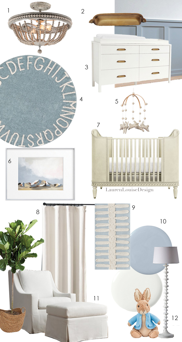 1. Semi-flush ceiling  light  2. Pottery Barn  Classic Cup Pull  3. Pottery Barn  Dresser  4. Pottery  Barn Rug  5. Adorable  Bunny Mobile  from Etsy 6. Minted Fine  Art Print  7. Crate and Barrel  Gustavian Crib  8. Restoration Hardware  Cotton Canvas Blackout Curtains  in Warm White Drapes 9. Schumacher  Castille Tape in Sky  10. Farrow and Ball  Pale Powder ; Benjamin Moore  Simply White  11. Restoration Hardware  Glider and Ottoman  12. Crate and Barrel Jenny Lind  Floor Lamp