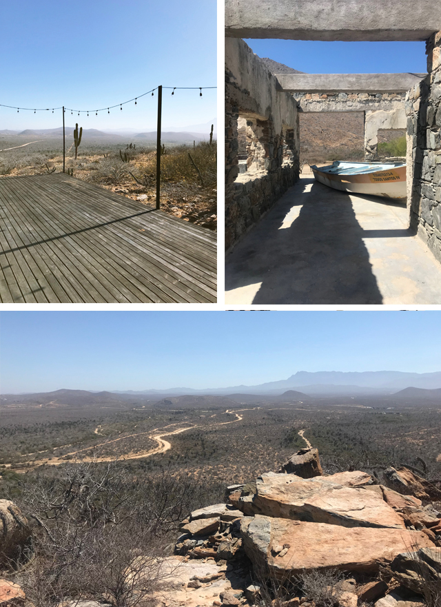 Clockwise from upper left: Yoga platform, walking through the old sardine cannery, view from the hike