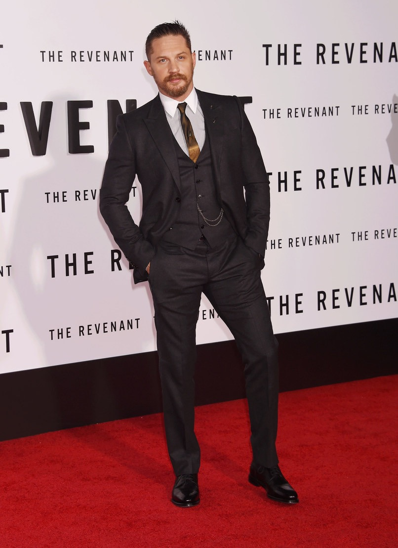 """Tom Hardy at The US premier of """"The Revenant"""" in custom """"Gucci"""""""