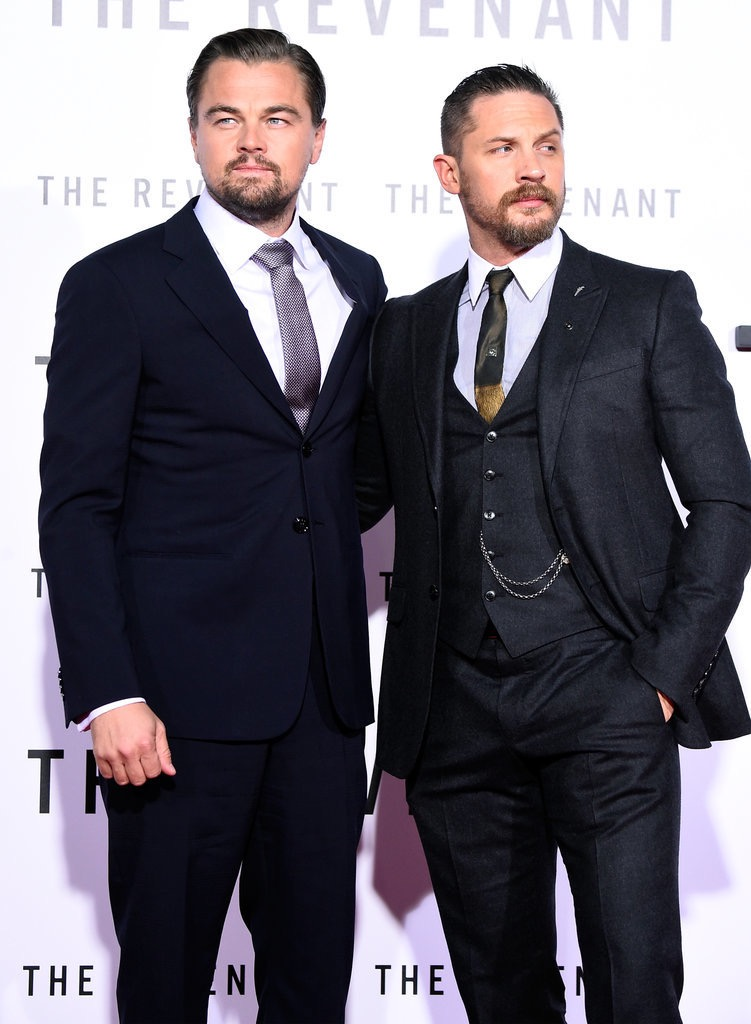 """Tom Hardy wears custom Gucci to the U.S. premiere of """"The Revenant"""""""