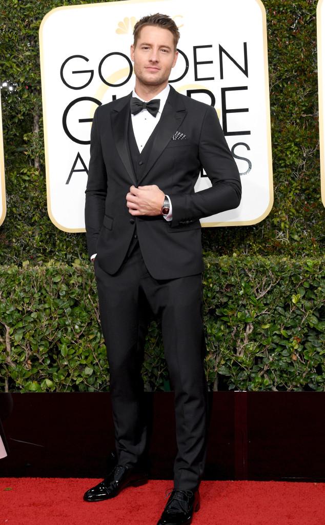 Justin Hartley at the Golden Globes wearing Dolce & Gabbana