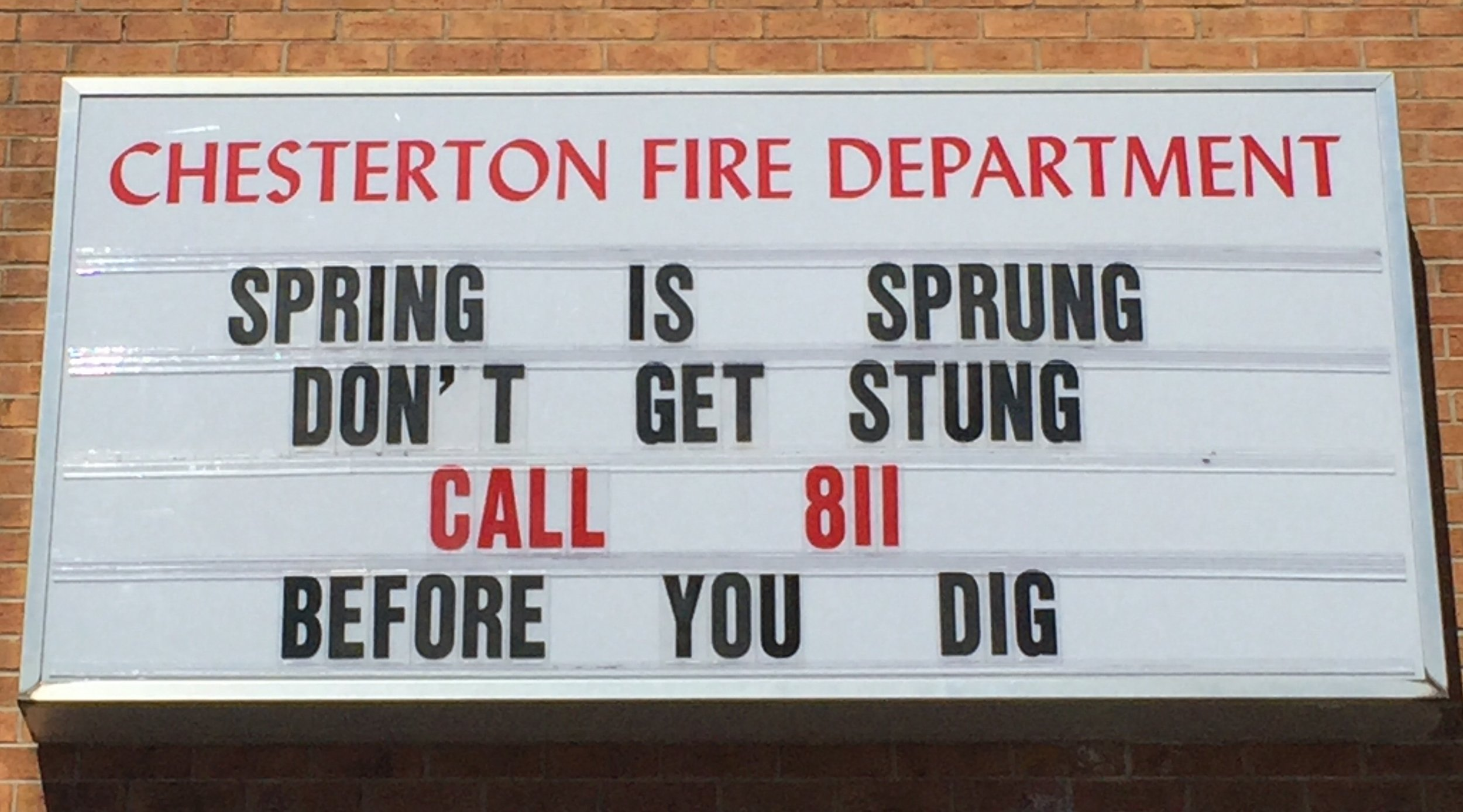 """Chesterton fire department - """"spring has Sprung, don't get stung..."""""""