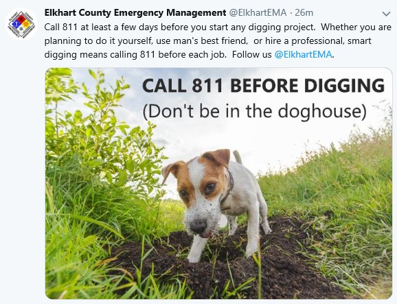 "Elkhart County EMA - ""Call 811 before digging…"""