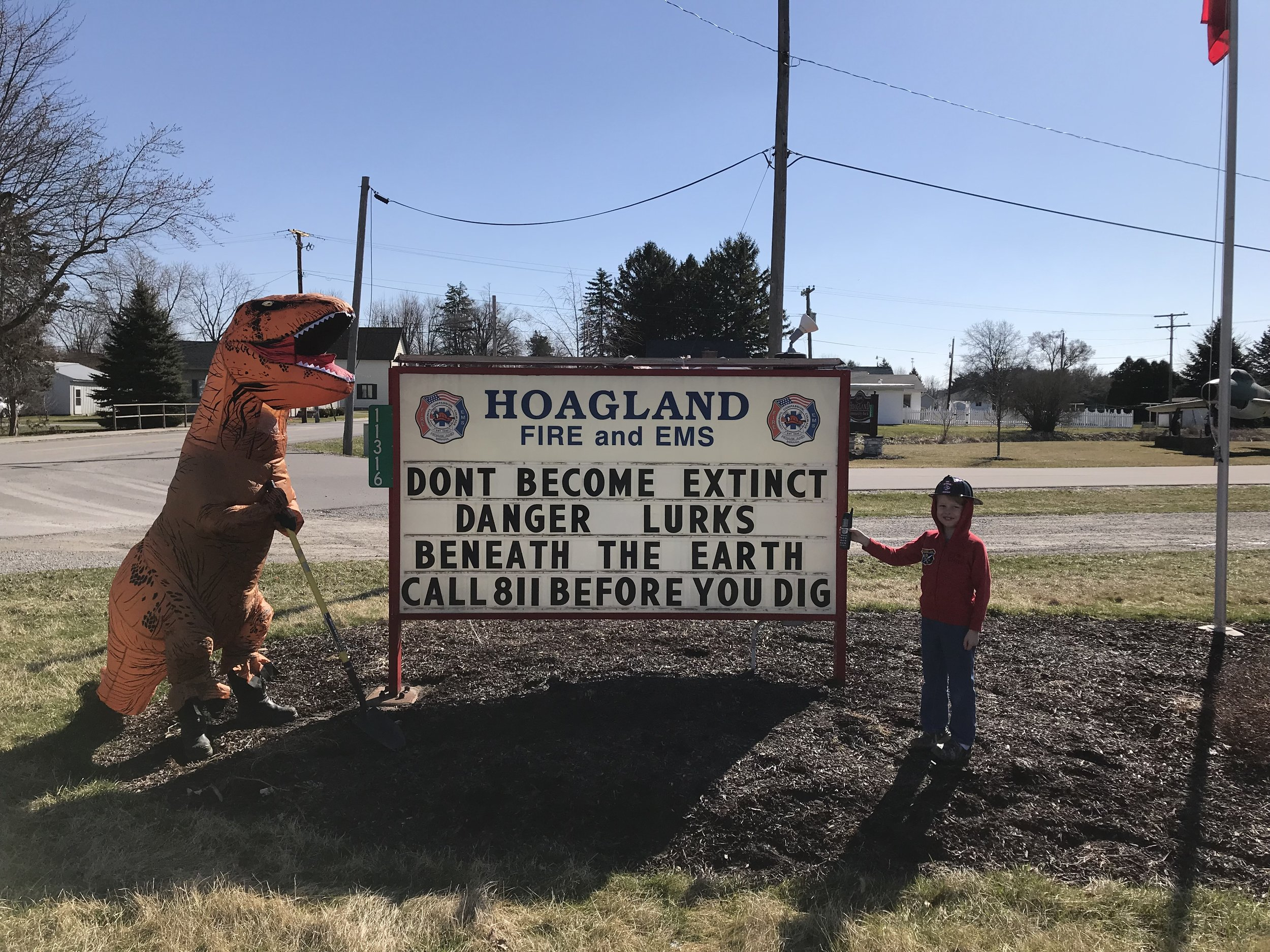 "Hoagland fire department - ""don't become extint…"""