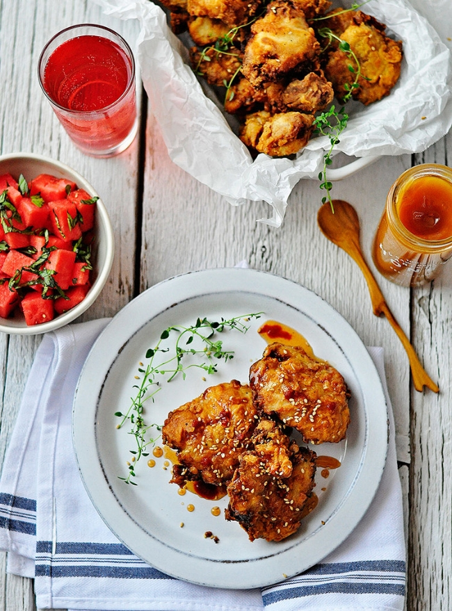 Pickle-Brined Fried Chicken with Hot Honey