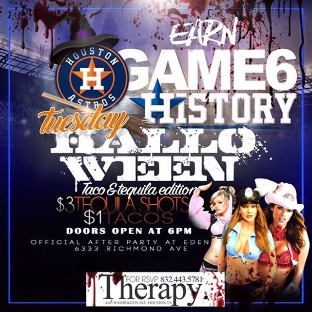 Houston join us tonight at our official Halloween party @therapyhouston!  4105 Washington Ave . Contact us for more info : 832-443-5781