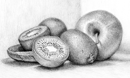 "Kiwi Fruit & Apple Still Life ©2010 C Olivia Carlisle (""OC"")"