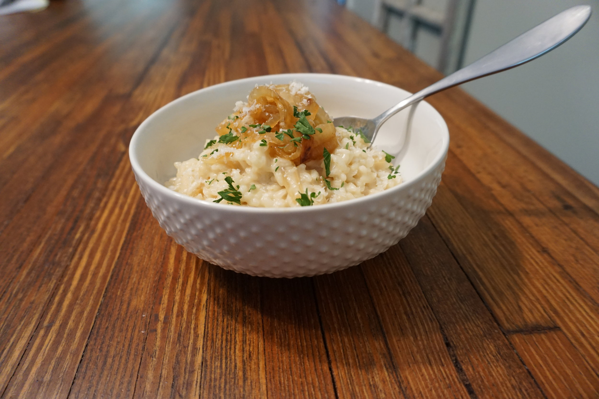 Caramalized Onion Risitto  - This is a great side dish or is rich enough to be a meal on its own. Savory flavor that is great to the last bite