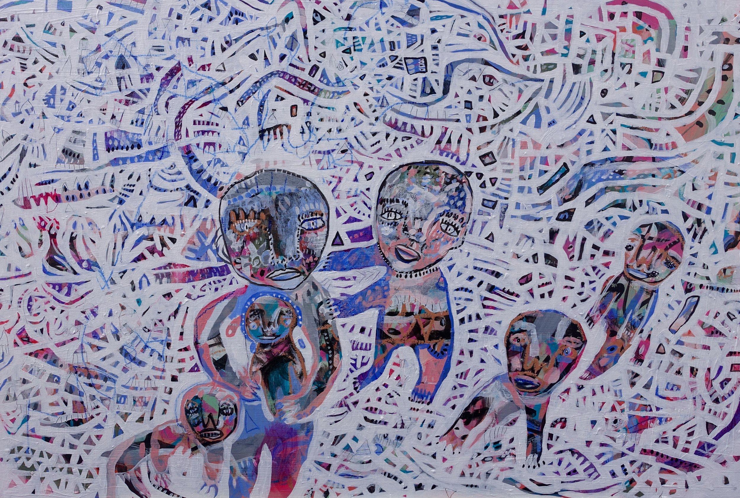 """Shoulder Rub   Marcie Rohr, 2016  36"""" x 24""""  acrylic on birch panel   $840"""
