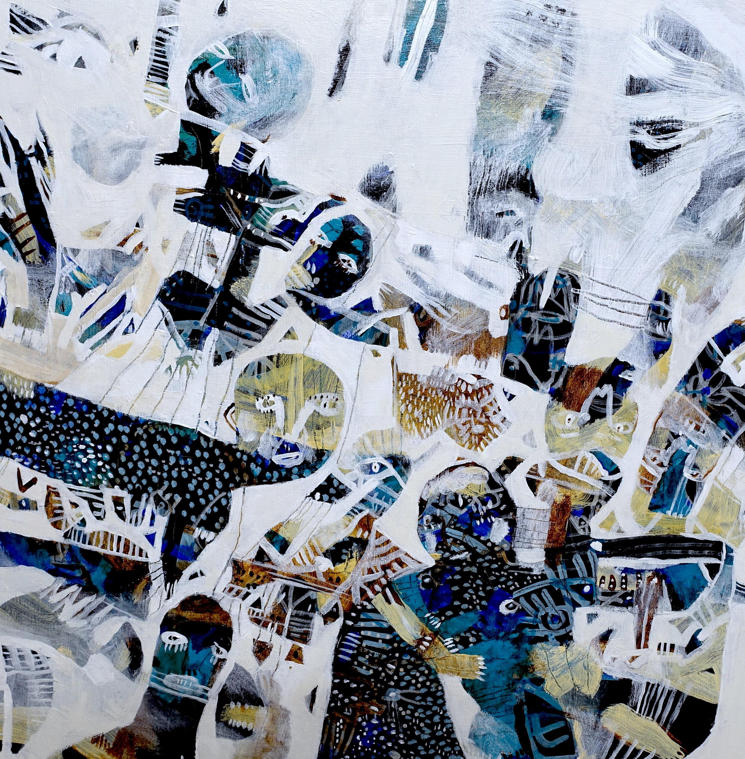 """Hierarchy   Marcie Rohr, 2018  24"""" x 24""""  acrylic on birch panel   $700 CAD"""