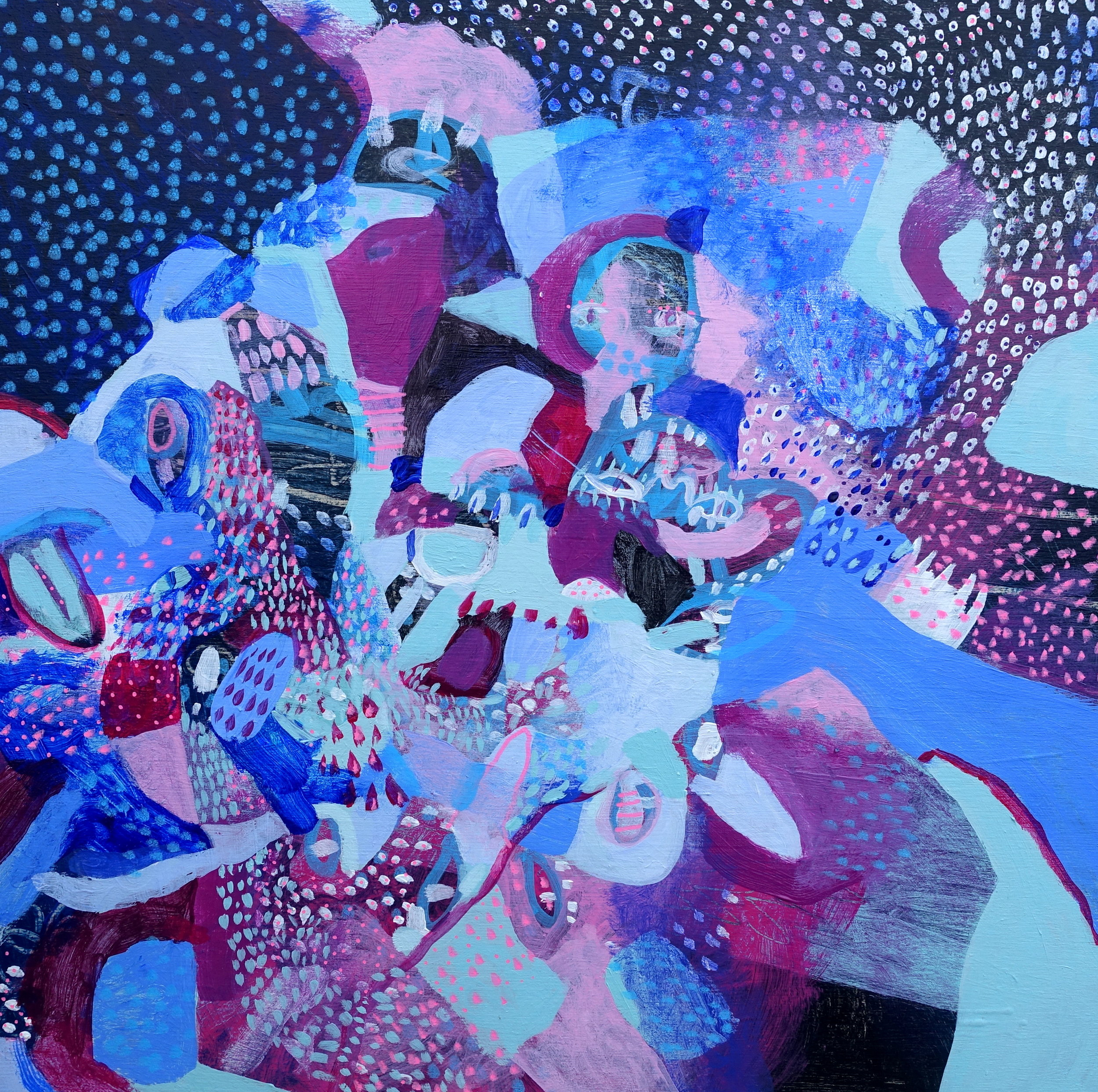 "Beyond the Ridge of the Darkest Night   Marcie Rohr, 2018  16"" x 16""  acrylic on birch panel   $370 CAD"