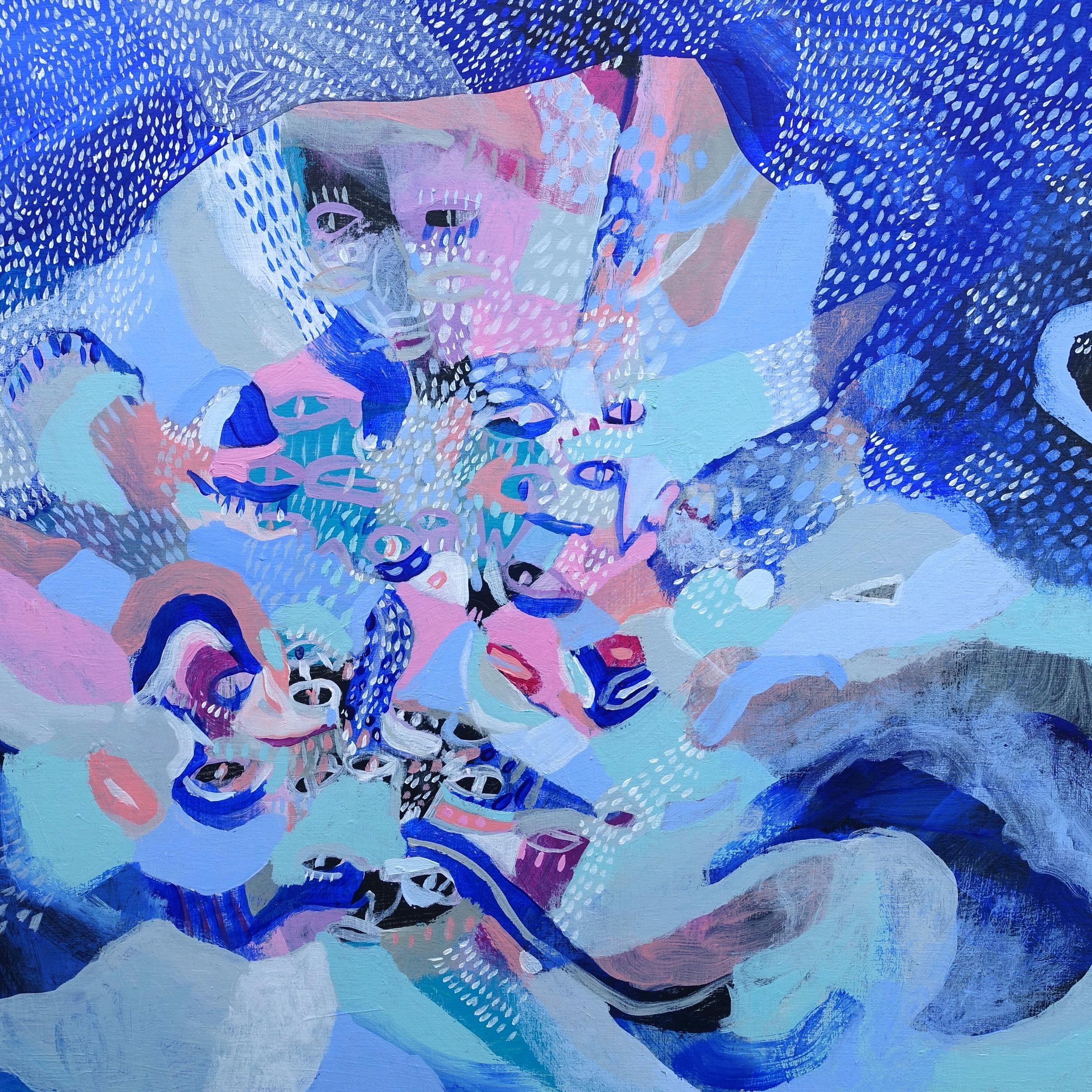 """Rain Rhythms   Marcie Rohr, 2018  16"""" x 16""""  acrylic on birch panel   $370 CAD"""