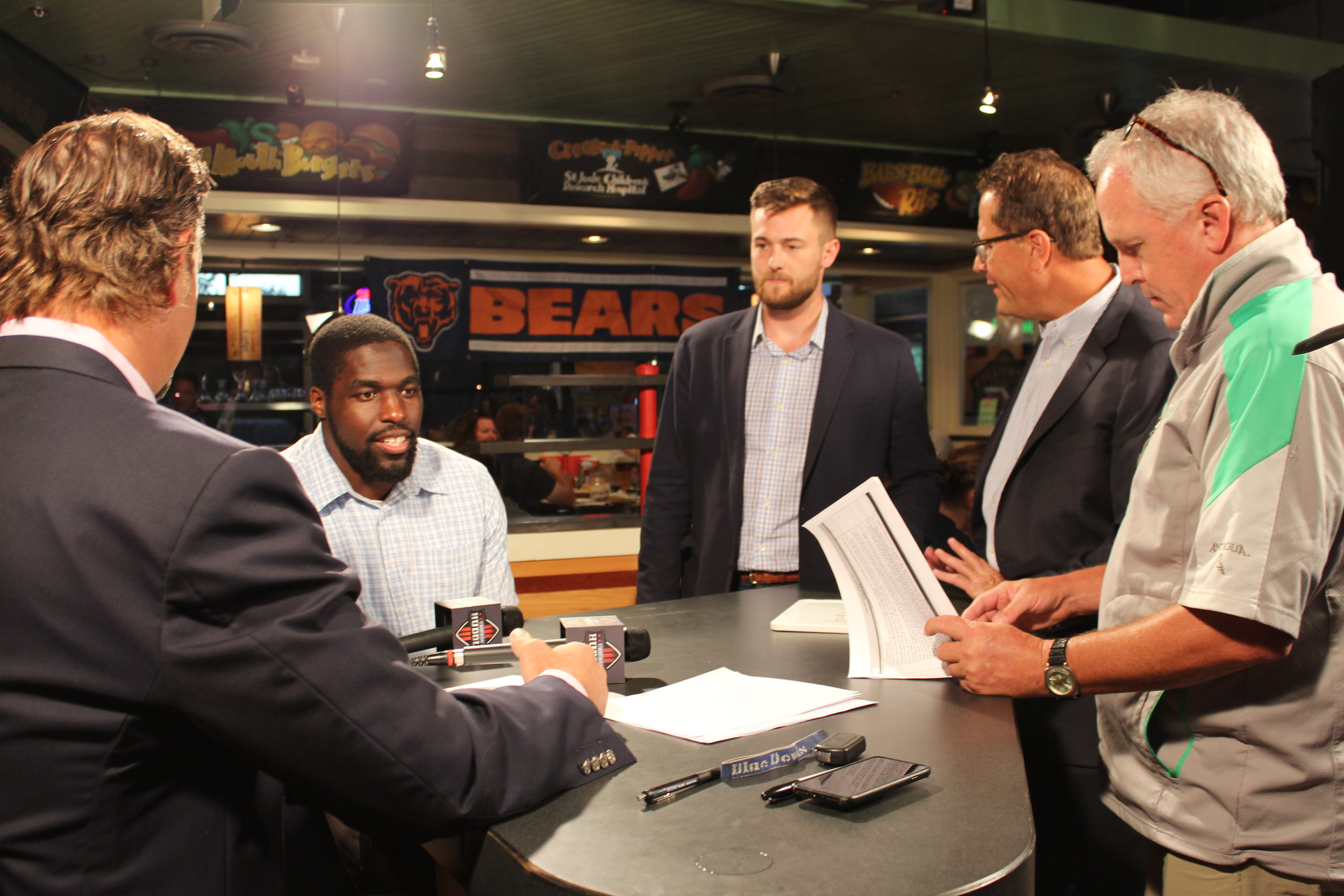 On the set of the Chicago Huddle which can be seen on NBC Sports Chicago during Chicago Bears season.