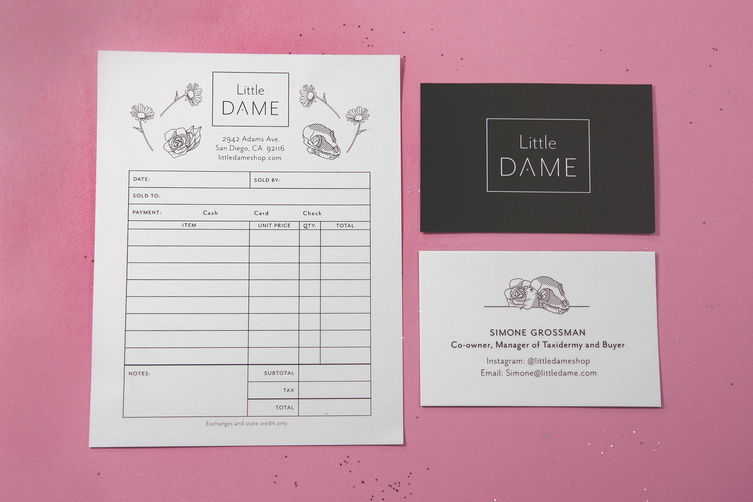 Little Dame Shop: Receipt and Business Card