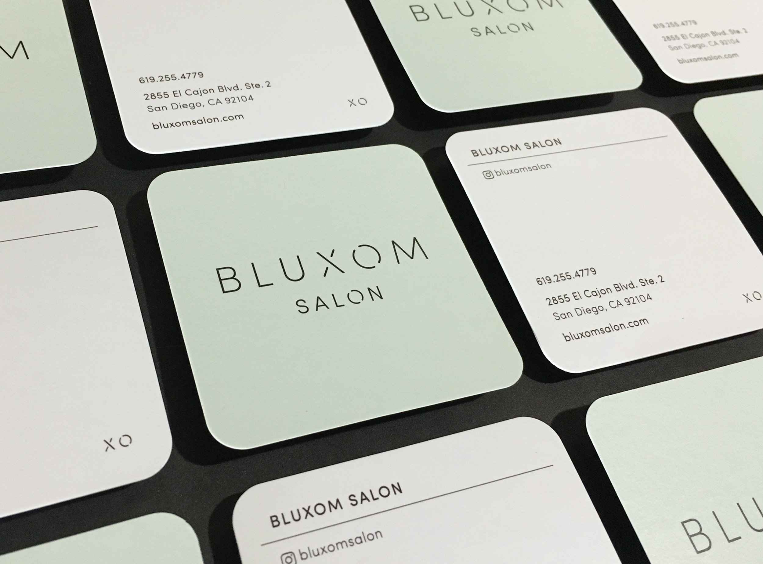 Business Card Template : Stylist name and Instagram handle to for to replace Bluxom Salon type for individual cards.
