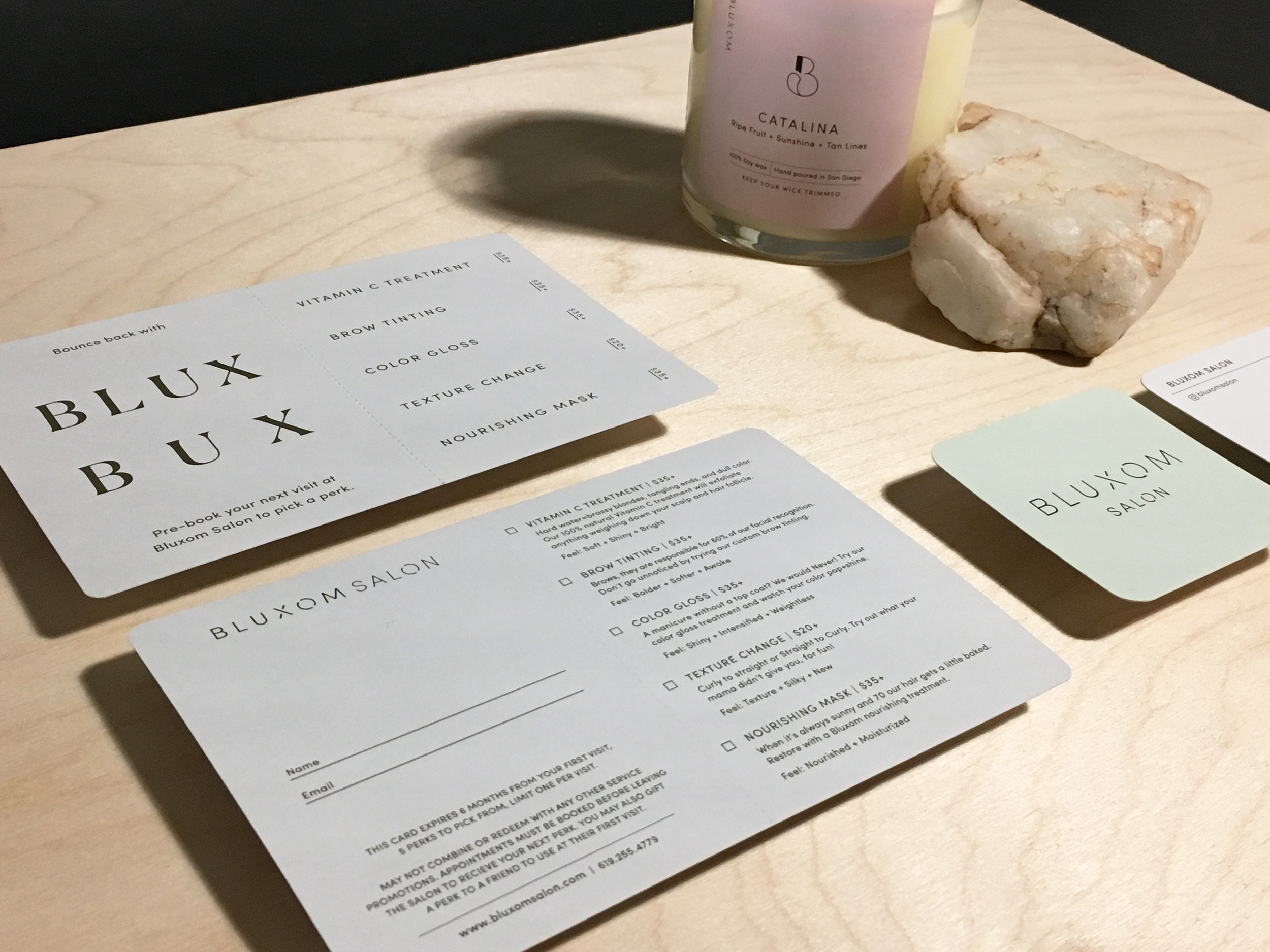 Collection : perforated Blux Bux cards, business cards and candle labels for the Bluxom candle line.