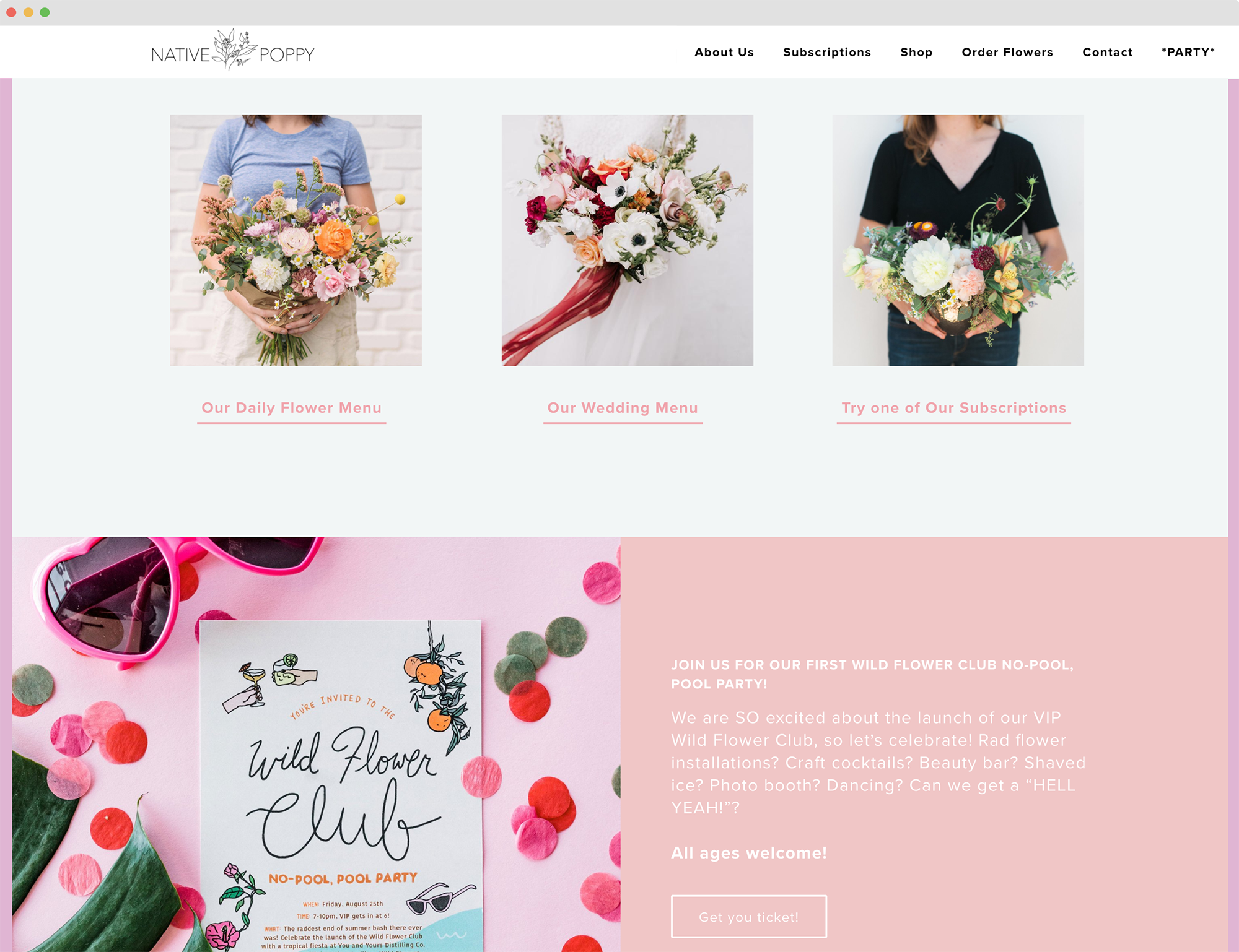 site design for native poppy flower shop