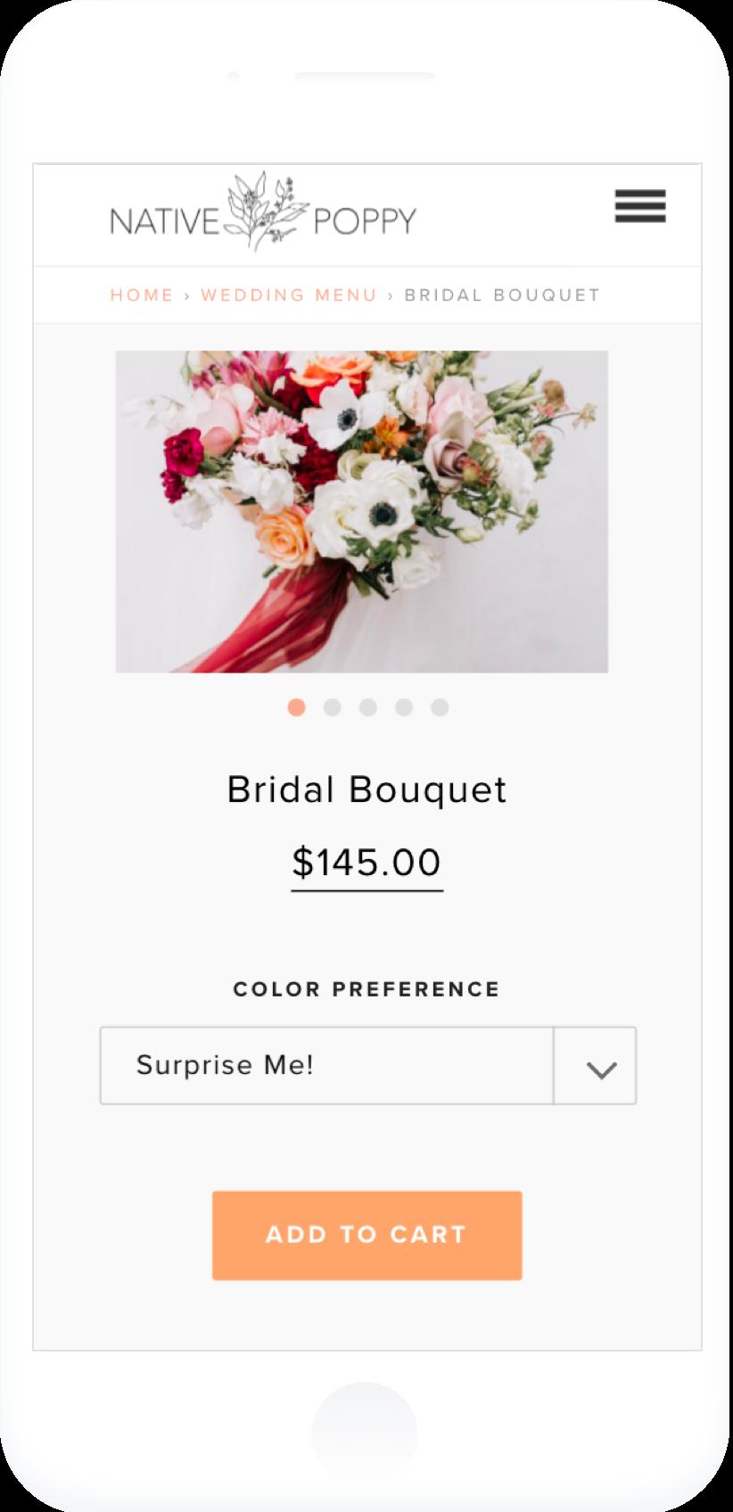 mobile site design for native poppy flower shop.