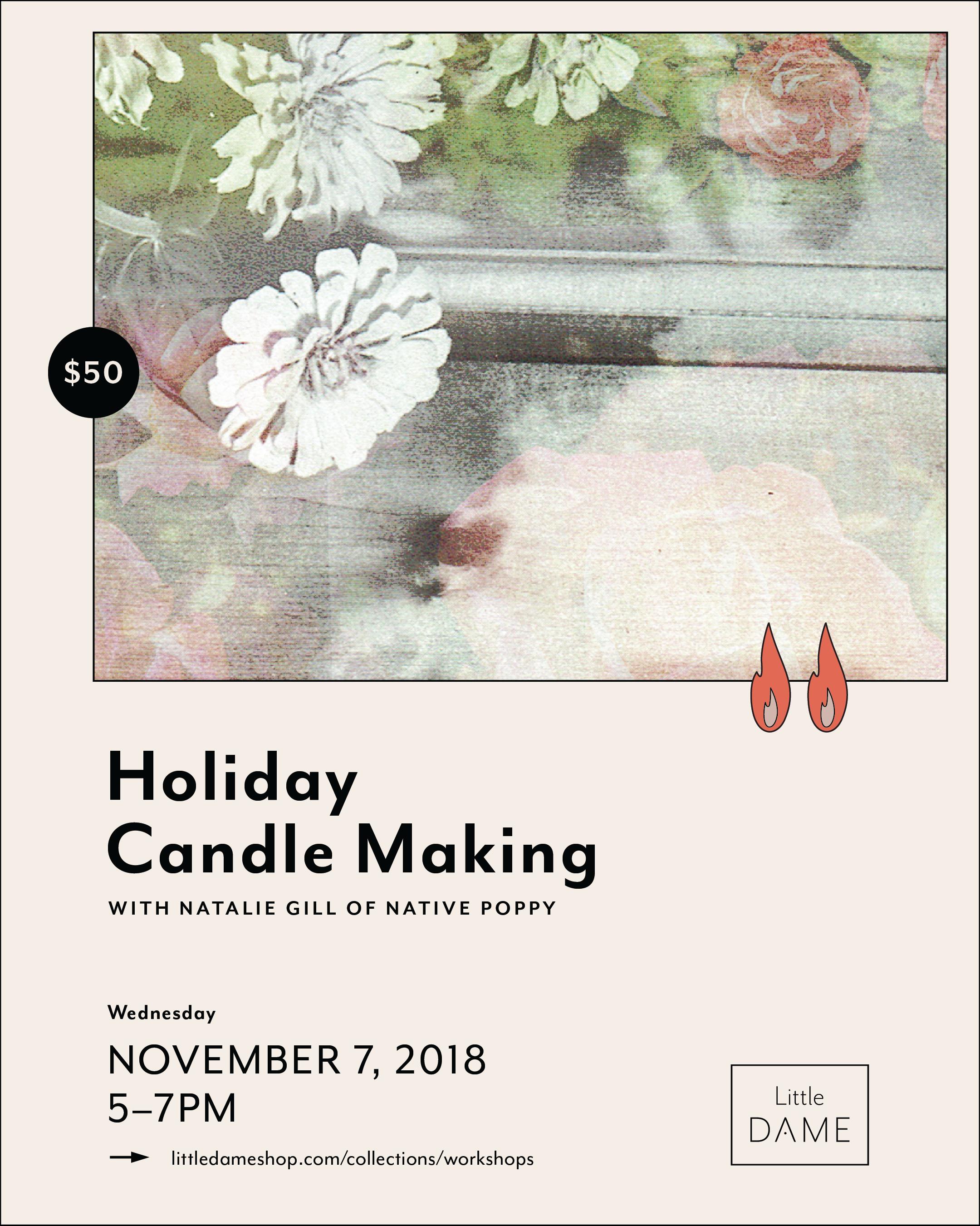 Little Dame Shop   Natalie Gill Candle Making Workshop   Flyer