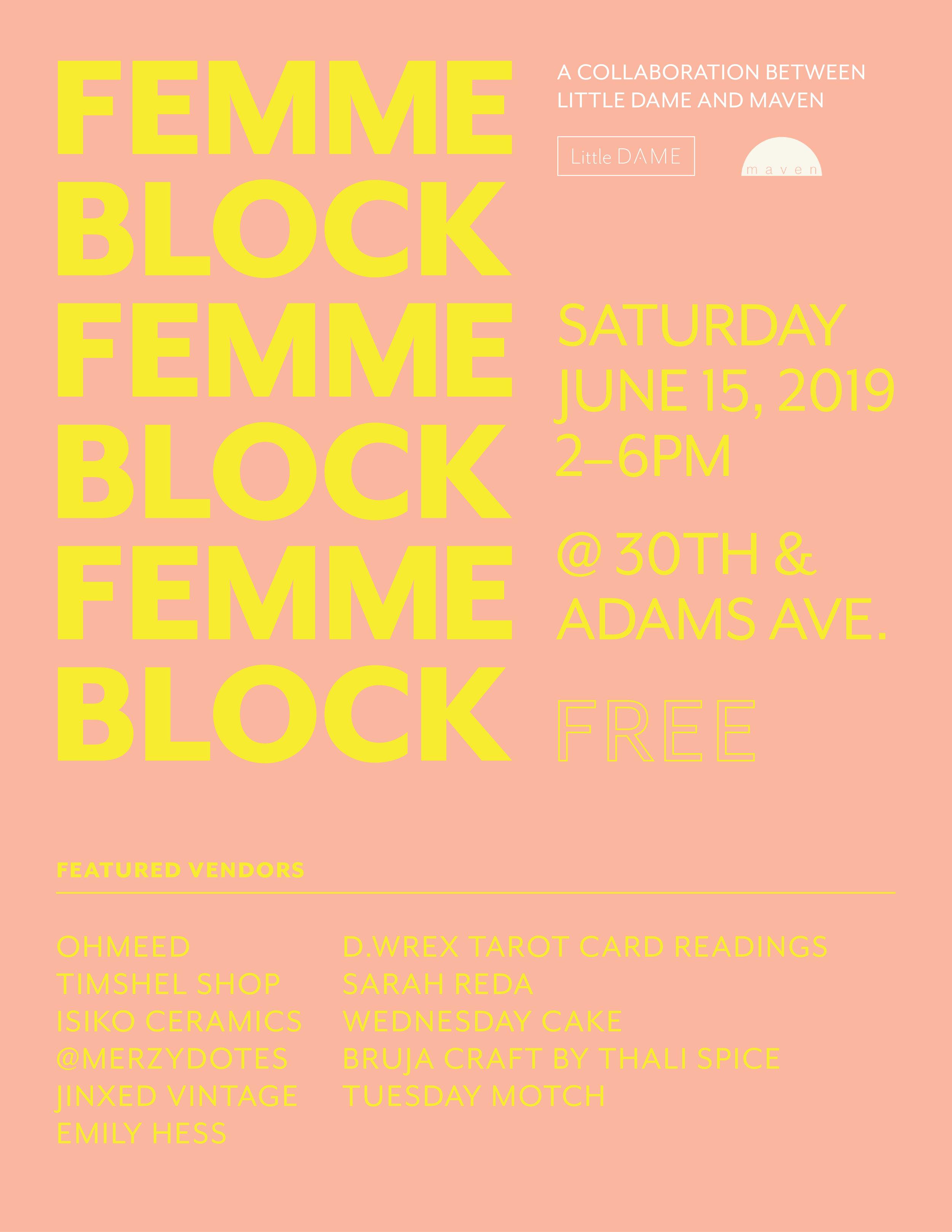 Femme Block, Year 3 | Little Dame, San Diego | 2019 Poster