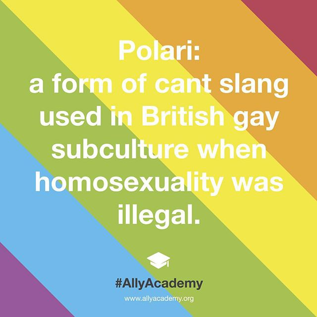"""Polari, from Italian parlare (""""to talk""""), disguised speakers from hostile outsiders and undercover policemen. There is some debate about its origins, but it can be traced back to at least the nineteenth century and possibly the sixteenth century. Polari began to fall into disuse amongst in the late 1960s. #AllyAcademy #Polari"""