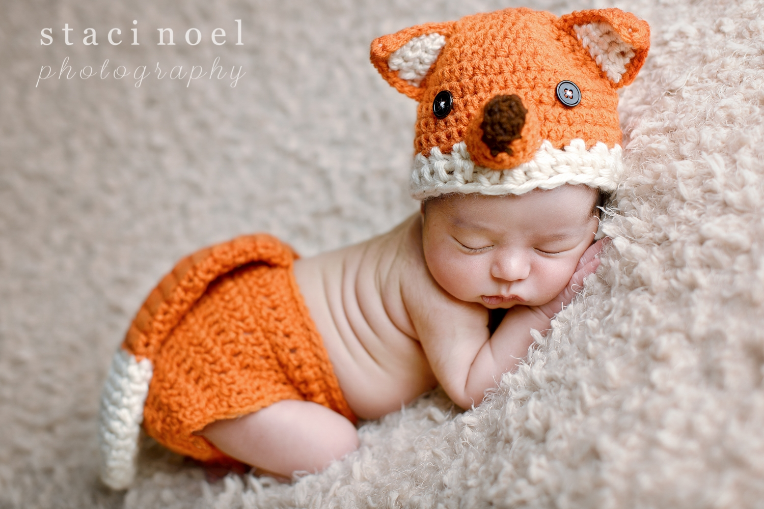 Charlotte NC newborn baby girl photographed by Staci Noel photography in crocheted fox outfit on tan backdrop