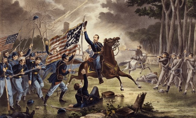 General Kearny's gallant charge at the Battle of Chantilly, painted by Augustus Tholey. Kearny mistakenly rode into the Confederate lines and was killed.  Photograph: UniversalImagesGroup/Getty Images