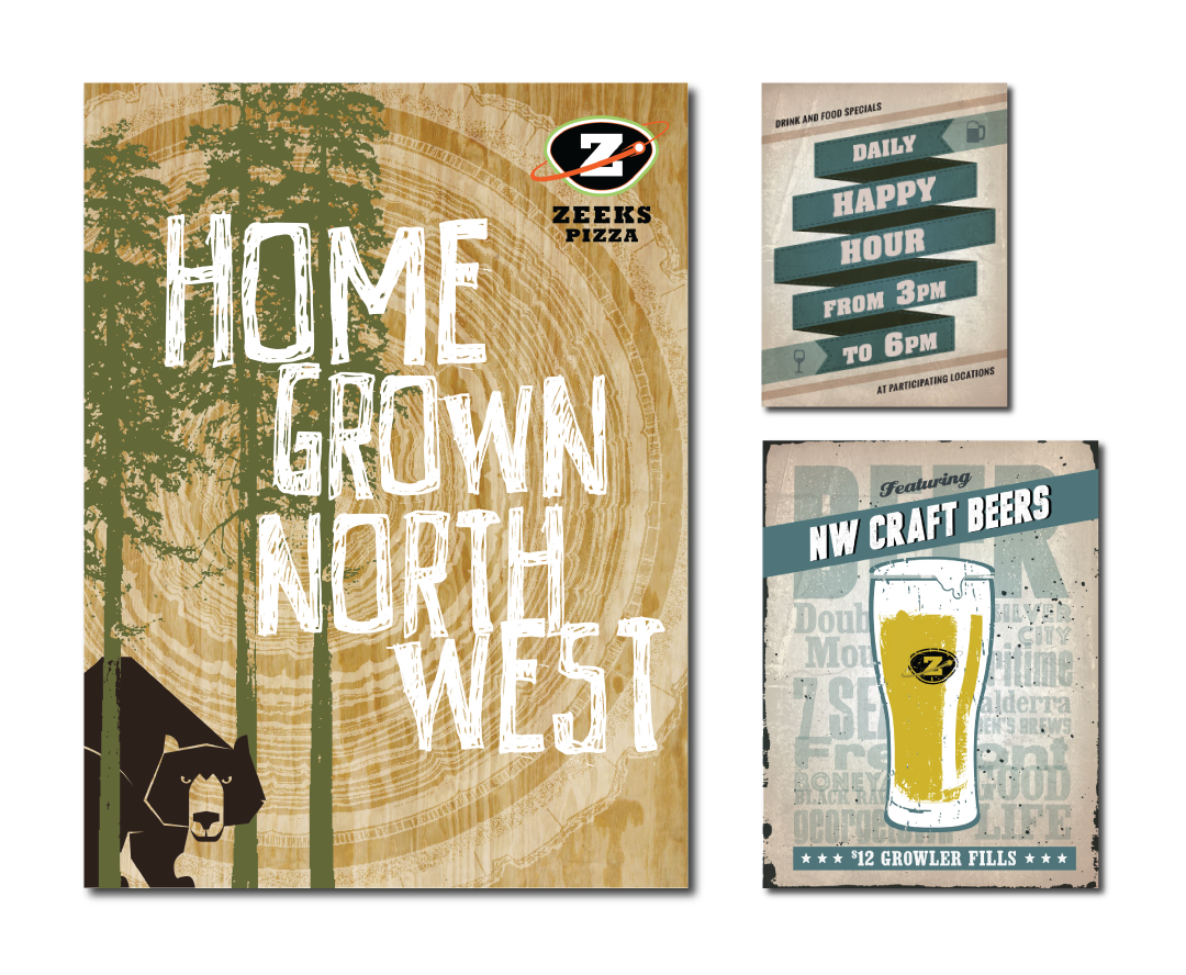 The new Website was a great opportunity to have fun with some new graphics promoting their NW craft beers and happy hour.
