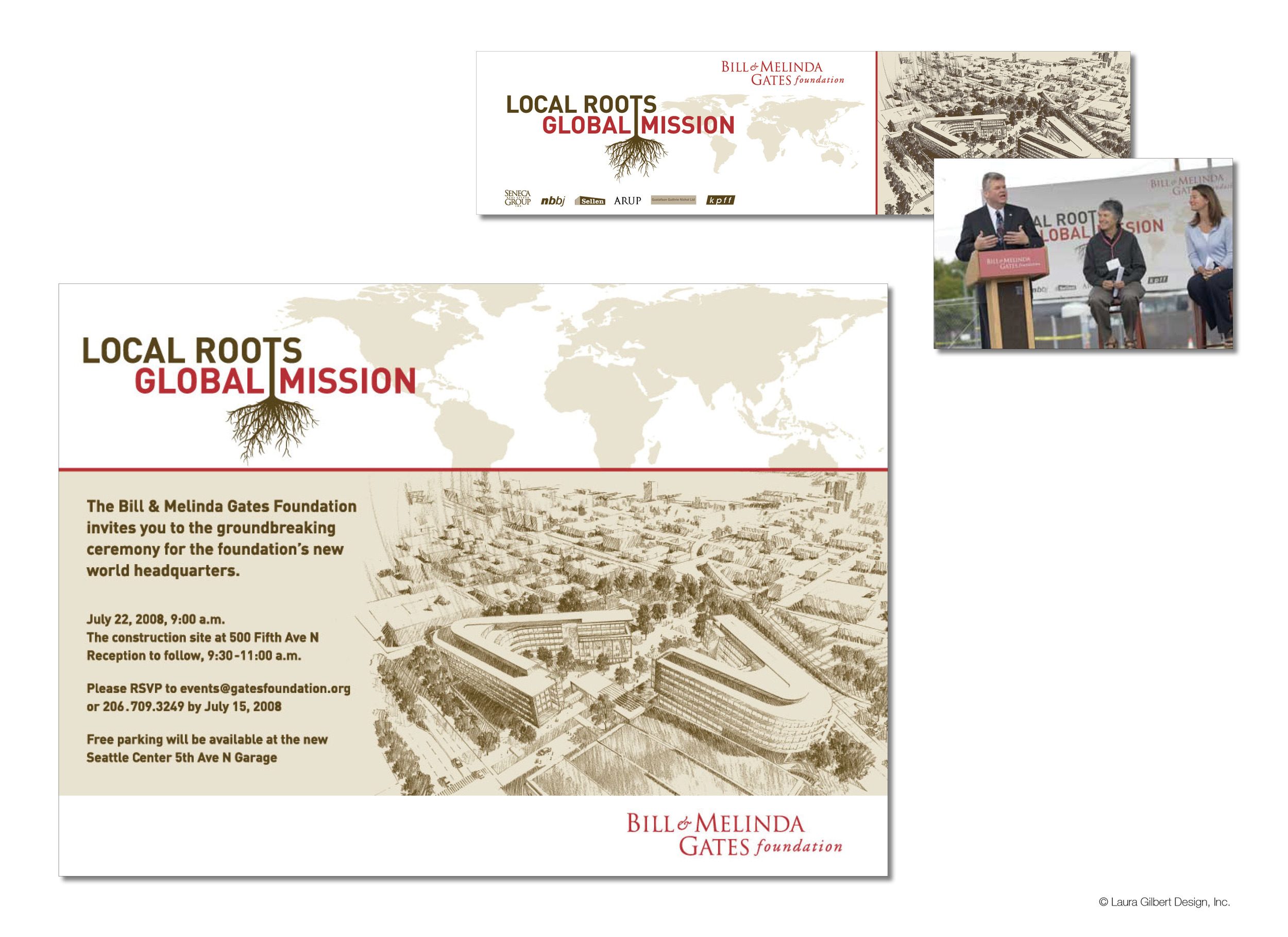 Event branding and materials in support of the groundbreaking ceremony for the foundation's new headquarters in Seattle