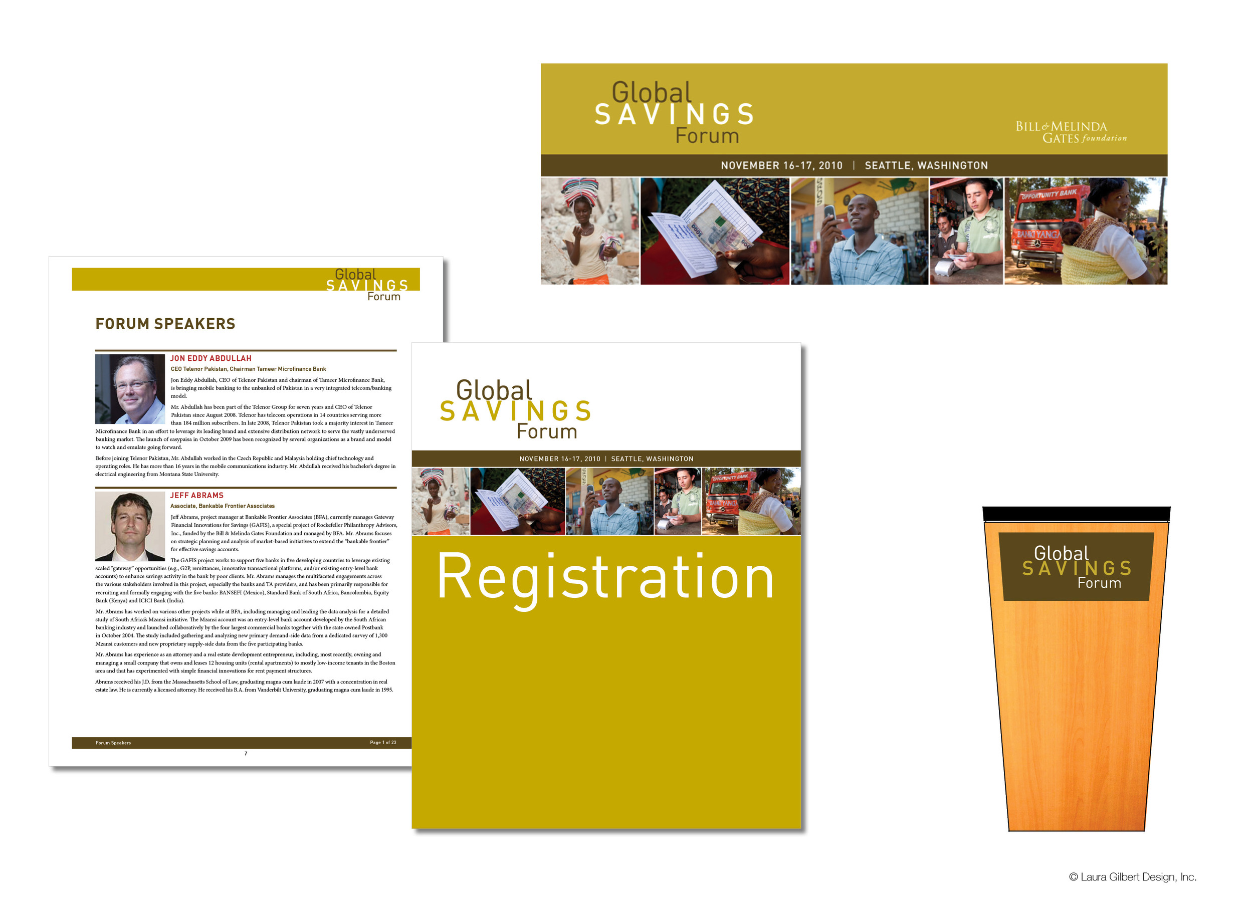 Event branding, web portal, siganage, and printed support materials for an external-facing forum on financial services to the under-served across the globe