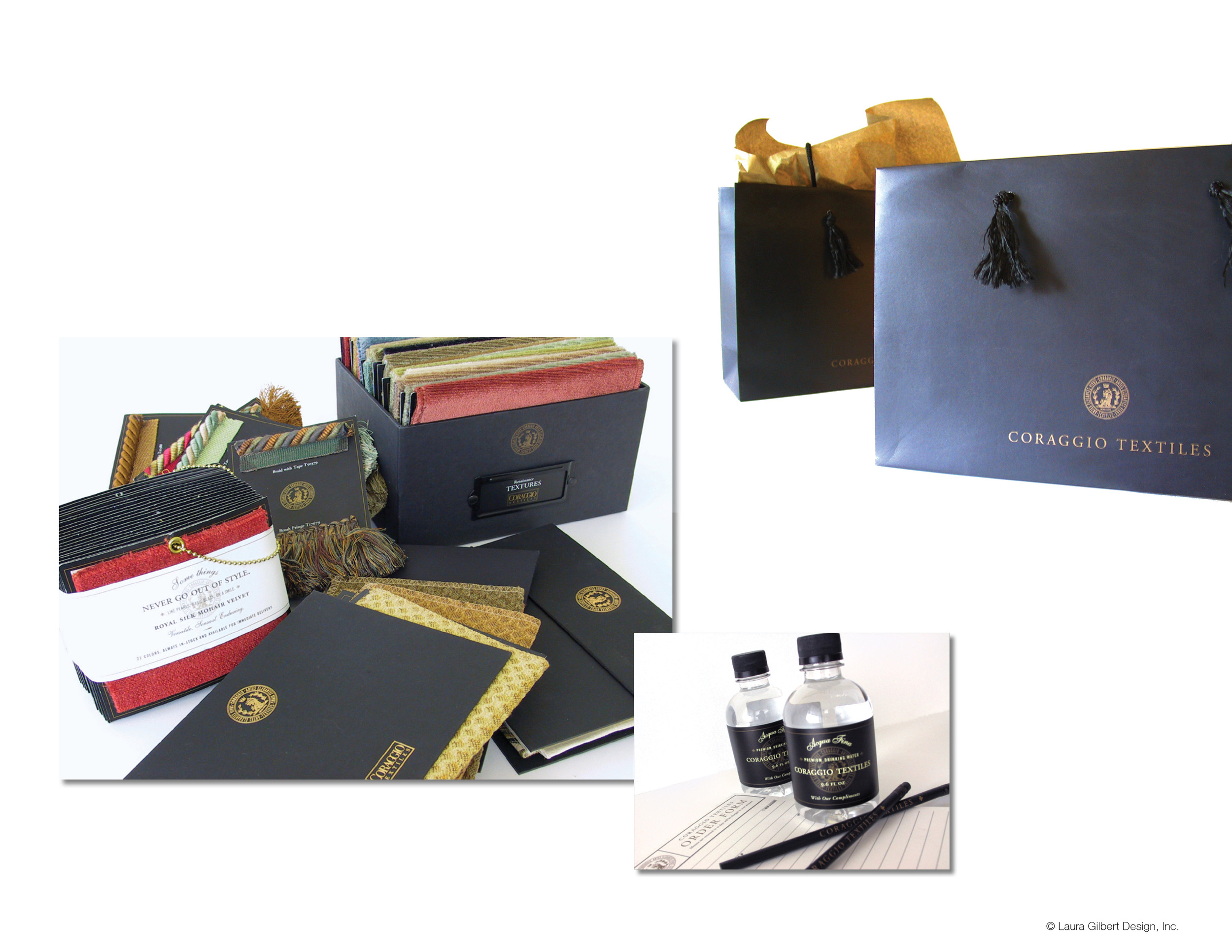 Shopping bags, product sampling materials, and showroom collateral
