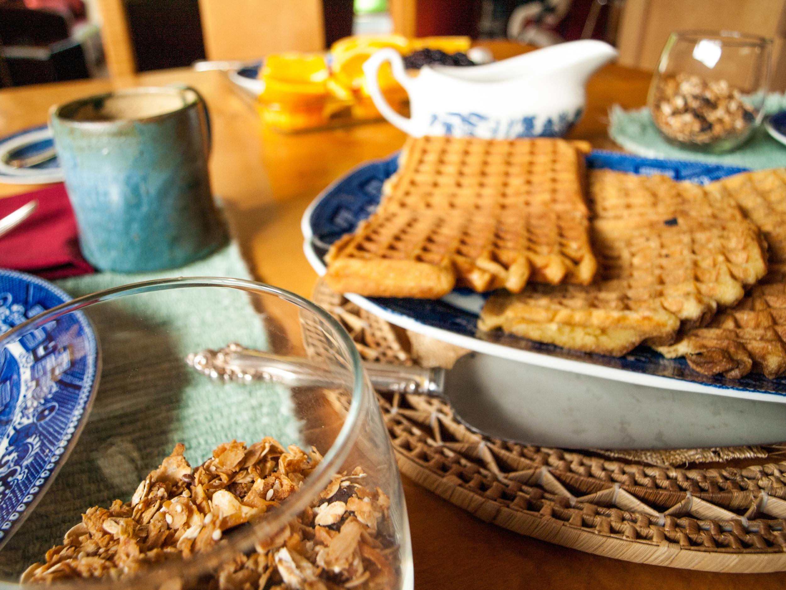 homemade granola and waffles, mmmm...