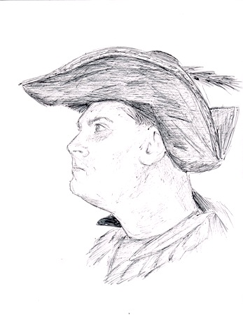 Mike Funt of theatre troupe Four Clowns, drawn for Cavern of Whimsy #5. (Four Clowns had to reschedule for a later month and Mike ended up not performing; a shame, because this was one of my favorite sketches.)