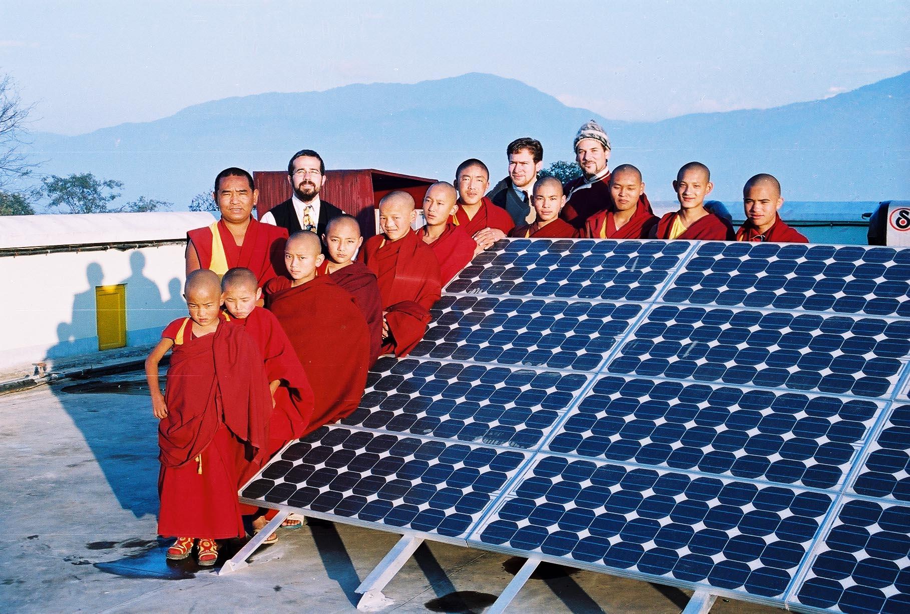 Lama Rangbar with Kopon Monks and solar array